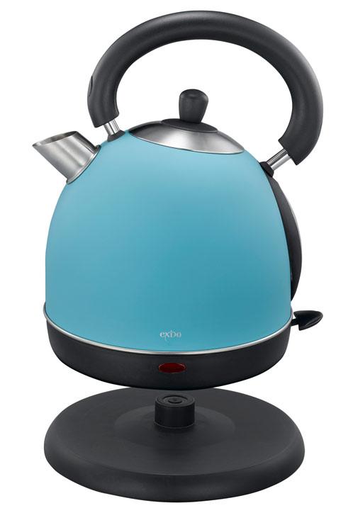 British Style EdelstahlWasserkocher blau 2000 Watt 1,8  ~ Wasserkocher Blau